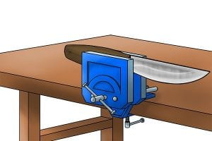 Step 1: Secure the blade in a vice