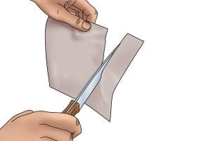 Step 5: Test the blades sharpness by cutting material