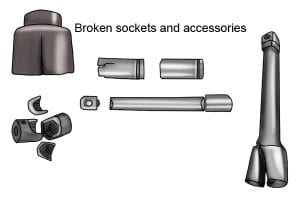 Impact sockets that are broken and socket accessories