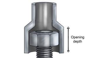 Opening depth of a socket