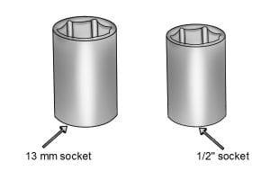 13 mm socket size and 1/2 inch socket size