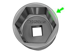 Wall thickness of a socket