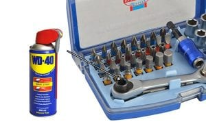 Spray the socket and ratchet tool with penetrating oil