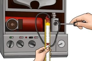 Connecting a gas test gauge to a boiler