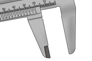 Inside measurement taken by a vernier caliper.