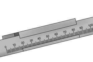 Detailed illustration of the vernier scale and how to measure.