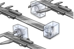 Range of different measuring capabilities by a vernier caliper.