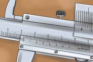 Illustration of the measuring scale on a vernier caliper.