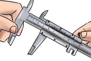 Illustration of using a vernier caliper to measure.