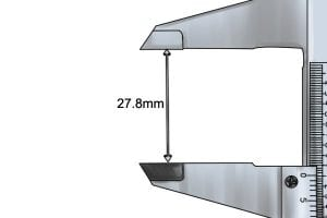 Example of how to measure using a vernier caliper with a reading of 27.8mm.