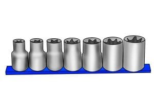 E-Torx drive sockets in different sizes