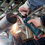 Bosch Professional GWS18V-LI 18V Li-Ion Cordless Angle Grinder in use