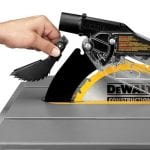 DEWALT DWE7490X 10-Inch Job Site Table Saw blade and blade guard
