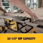 DEWALT DWE7491RS 10-Inch Table Saw rip capacity information