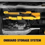 DEWALT DWE7491RS 10-Inch Table Saw on board storage system