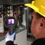 FLIR E4 Compact Thermal Imaging Camera checking electrics