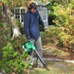 Hitachi RB24EAP Gas Powered Leaf Blower in use