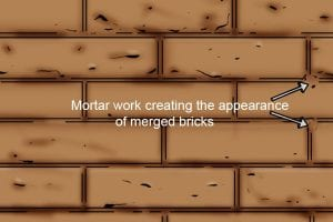 Mortar work creating the appearance of merged bricks