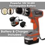 Terratek 18V Cordless Drill Driver complete with ni-mh battery