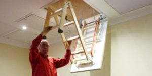 Deluxe Wooden Loft Ladder with Twin Handrails