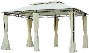 Outsunny 3 x 3 Meter Garden Aluminium Gazebo Hardtop Roof Canopy Marquee Party Tent Patio Outdoor Shelter with Mesh Curtains & Side Walls