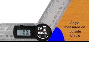 Position the ruler against the angle