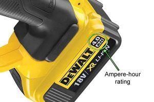 Ampere-Hour Rating on the DeWalt 18V XR battery.