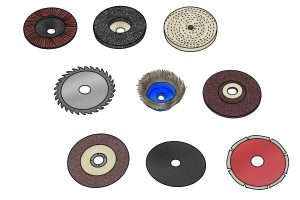 Examples of angle grinder abrasive discs available on the market.