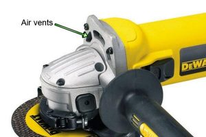Angle grinders include an air vent to stop motor overheating.