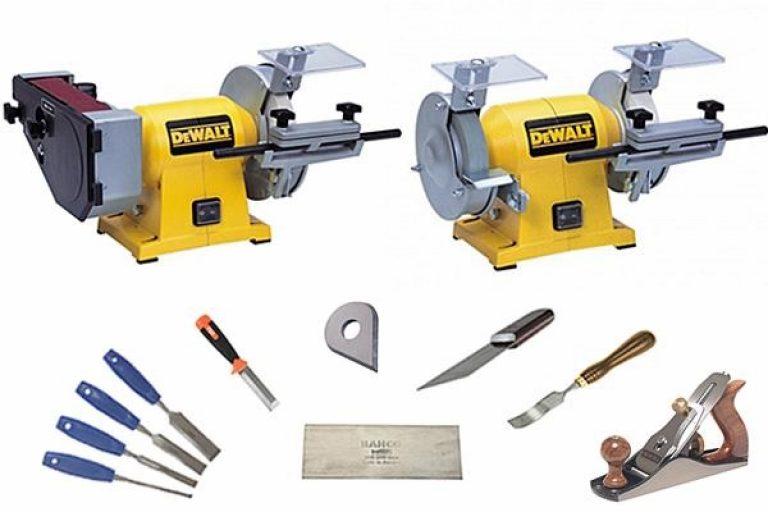 DeWalt Bench Grinder and accompanying accessories.
