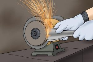 Example of a bench grinder in use.