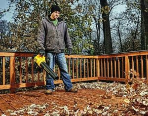 Blowing leaves off deck with Dewalt leaf blower.