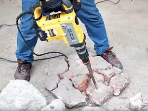 Chiselling with Dewalt SDS max drill.