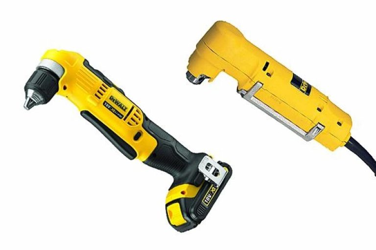 Using corded and cordless Dewalt angle drills.