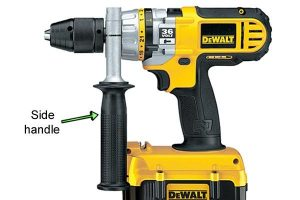 DeWalt side handle provides extra grip and control.