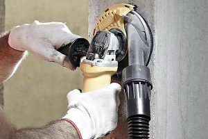 Shroud attachment can work as vacuums when attached to an angle grinder.