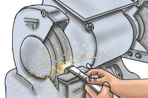 DeWalt grinding wheel to sand down material.