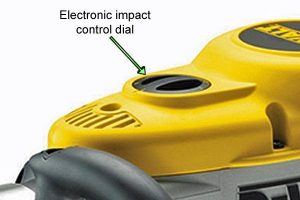 Demolition hammer impact control dial.