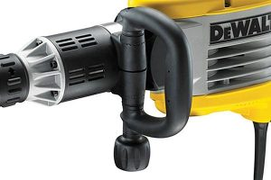 Demolition hammer side handle is highly adjustable.