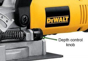 Dewalt DW682K jointer depth adjustment knob.