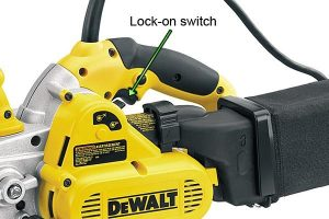 Dewalt belt sander lock-on switch.