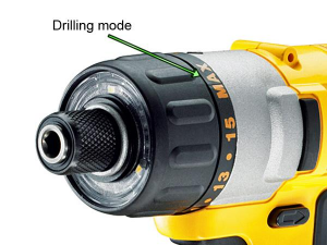 Turn collar to Max for drilling mode.