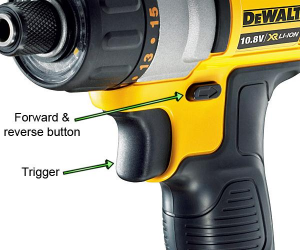 Press the forward & reverse button to set the direction of rotation.