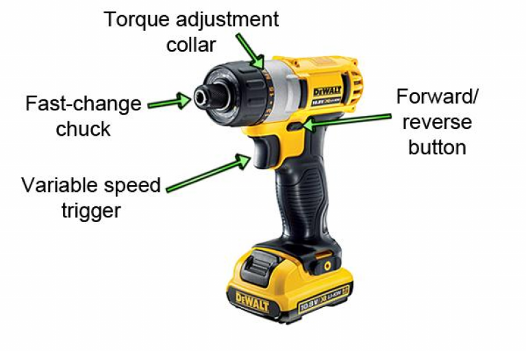 The Dewalt cordless screwdriver features a fast-change chuck.