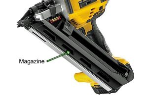 The DCN692 nail gun has a versatile 30-34 degree angle.