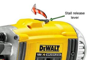 The nail gun's anti-stall lever lets you reset the tool.