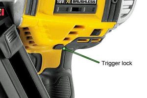 The lock-off button prevents the nailer from firing.