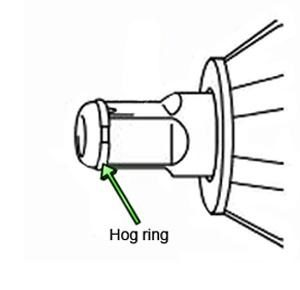 A hog ring, or friction ring, lets you change sockets without a tool.