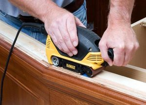A power sander makes smoothing wood quick and easy.