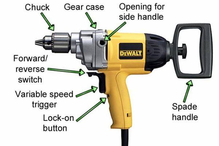 Dewalt mixer drill labelled parts.